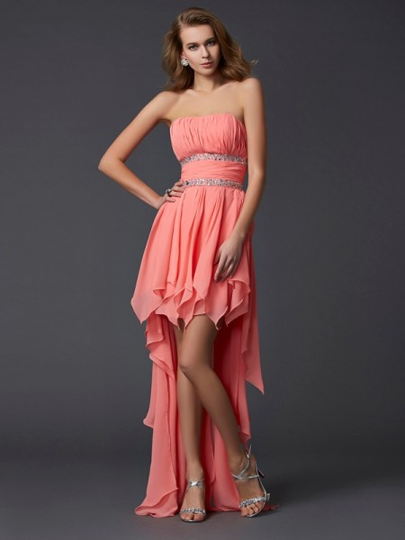 Empire Strapless Ruffles High Low Chiffon Homecoming Dress