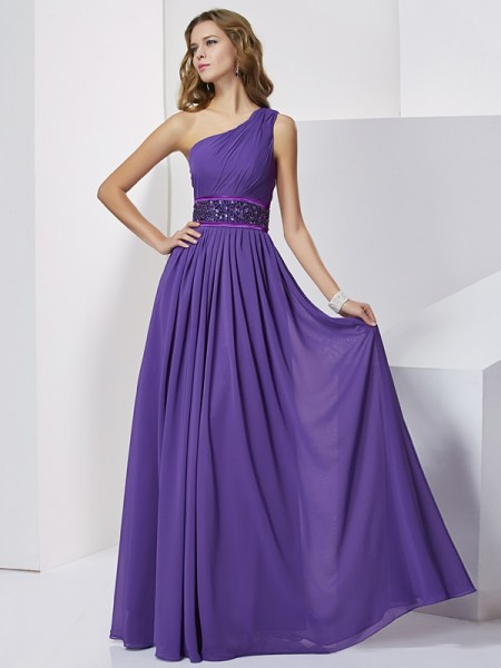 Empire One-Shoulder Beading Dress with Long Chiffon