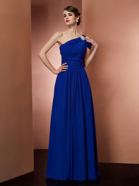 A-Line/Princess One-Shoulder Pleats Dress with Long Chiffon