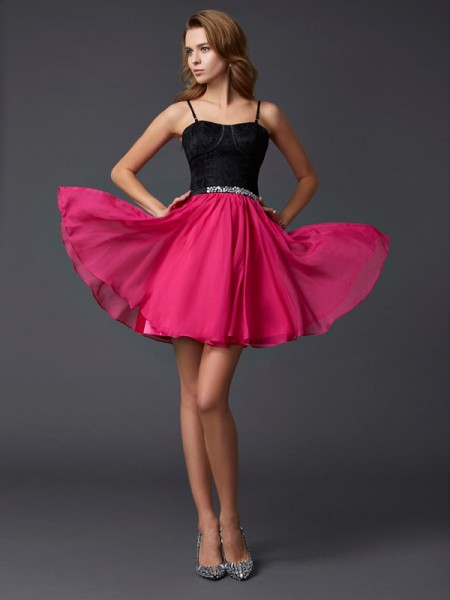 A-Line/Princess Spaghetti Straps Short Chiffon Homecoming Dress