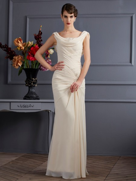 Sheath/Column Scoop Beading Dress with Long Chiffon