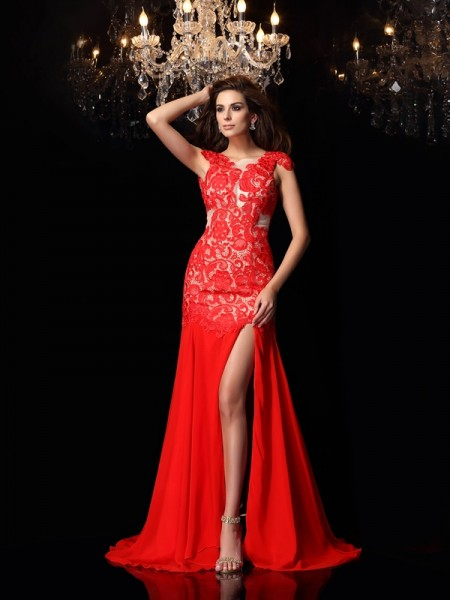 Trumpet/Mermaid High Neck Lace Dress with Long Chiffon