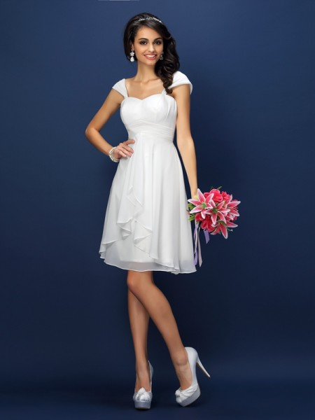 A-Line/Princess Straps Pleats Short Chiffon Bridesmaid Dress