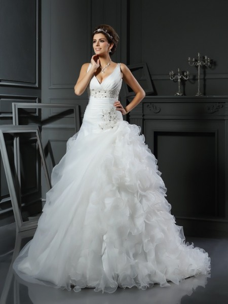 Ball Gown V-neck Ruffles Long Organza Wedding Dress