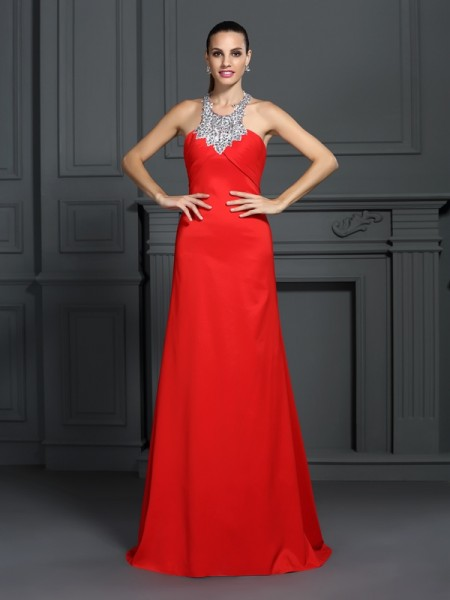 A-Line/Princess High Neck Beading Long Elastic Woven Satin Dress
