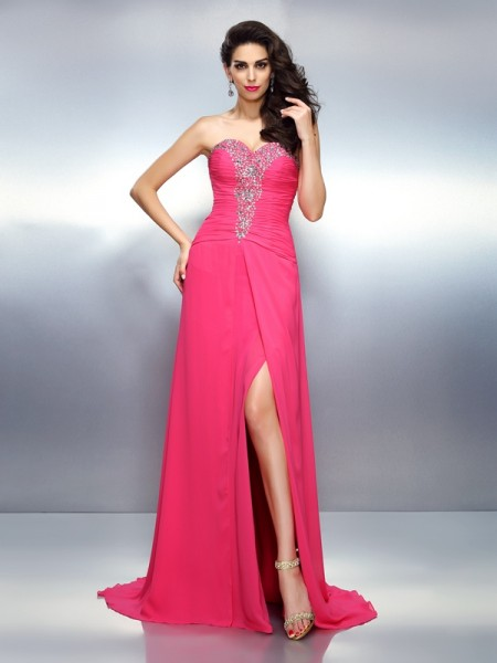 A-Line/Princess Sweetheart Beading Dress with Long Chiffon