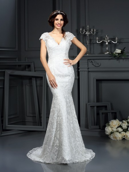 Trumpet/Mermaid V-neck Lace Long Lace Wedding Dress