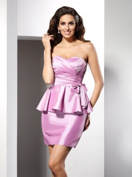 Sheath/Column Sweetheart Bowknot Short Taffeta Cocktail Dress