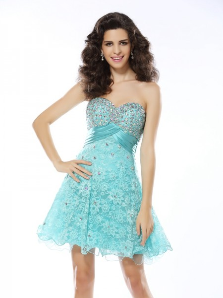 A-Line/Princess Sweetheart Ruffles Short Satin Cocktail Dress