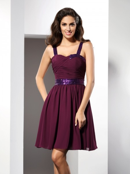 A-Line/Princess Straps Ruched Short Chiffon Cocktail Dress
