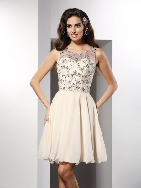 A-Line/Princess Bateau Beading Short Chiffon Cocktail Dress