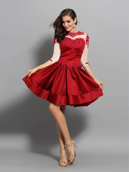A-Line/Princess High Neck Applique 1/2 Sleeves Short Satin Cocktail Dress