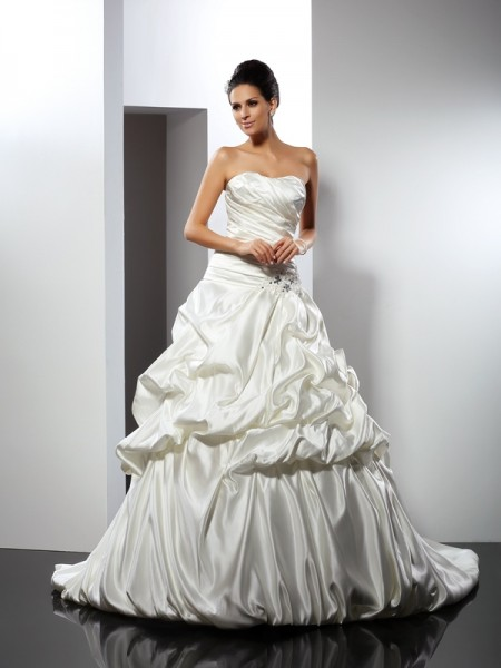 Ball Gown Sweetheart Long Satin Wedding Dress