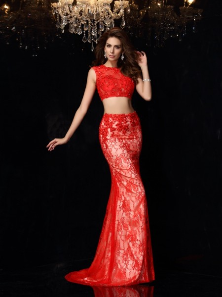 Sheath/Column Scoop Lace Long Elastic Woven Satin Two Piece Dress