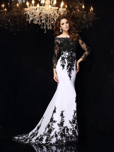 Sheath Long Sleeves Scoop Lace Chiffon Court Train Amazing Dress