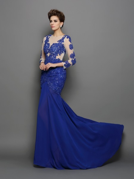 Trumpet/Mermaid Scoop Lace Long Sleeves Dress with Long Chiffon