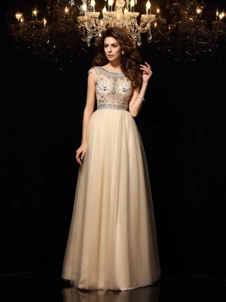 A-Line/Princess Scoop Beading Long Net Dress