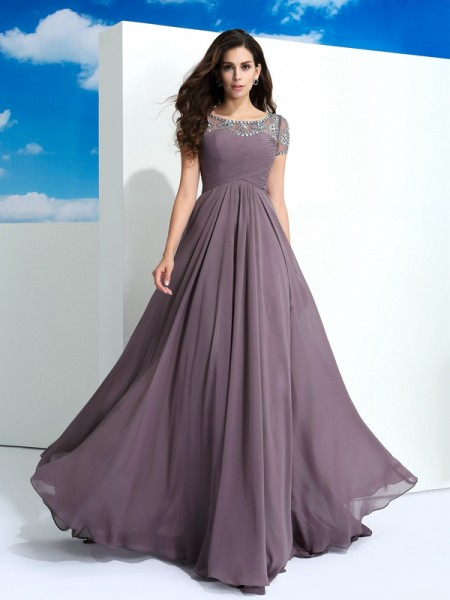 A-Line/Princess Sheer Neck Beading Short Sleeves Chiffon Dress