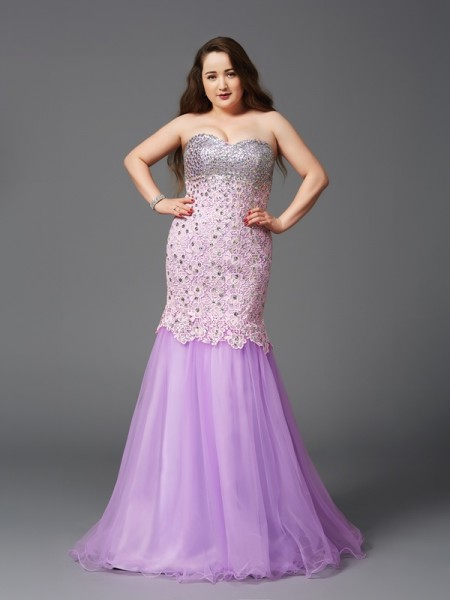 Trumpet/Mermaid Sweetheart Beading Long Net Plus Size Dress