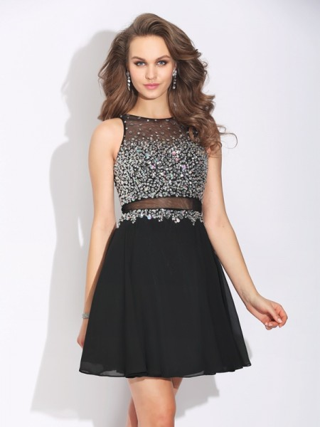 A-Line/Princess Jewel Beading Short Chiffon Dress