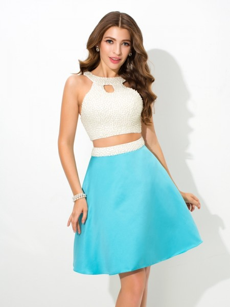 A-Line/Princess Jersey Beading Satin Two Piece Dress