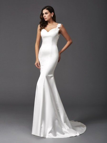 Trumpet/Mermaid Straps Beading Satin Wedding Dress