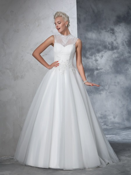 Ball Gown High Neck Applique Long Net Wedding Dress
