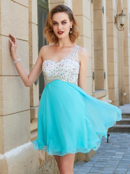 A-line/Princess One-Shoulder Chiffon Short/Mini Dress