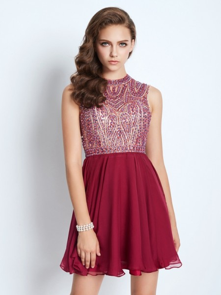 A-Line/Princess Jewel Chiffon Short/Mini Dress
