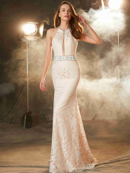 Sheath/Column Halter Floor-Length Lace Satin Dress