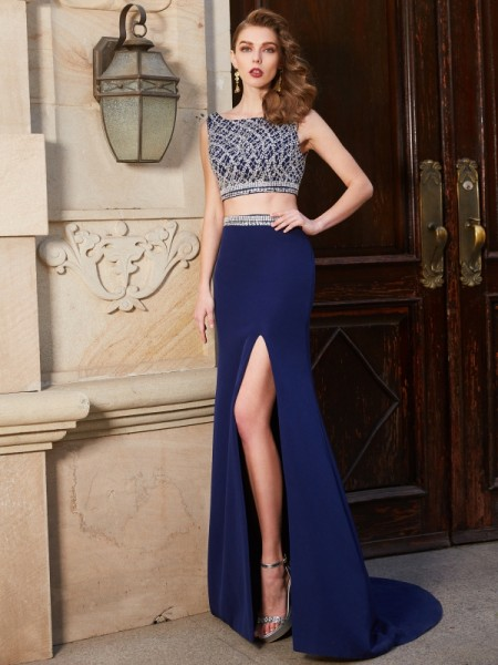 Sheath/Column Bateau Sweep/Brush Train Elastic Woven Satin Two Piece Dress