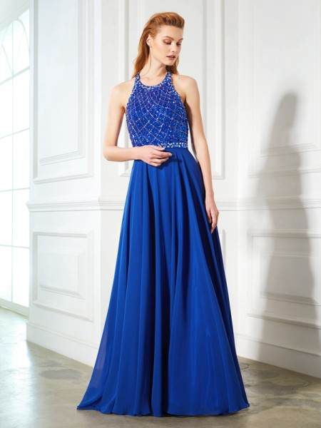 A-Line/Princess Jewel Chiffon Sweep/Brush Train Dress