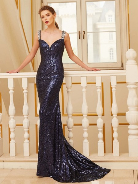 Sheath/Column V-neck Sweep/Brush Train Sequins Dress