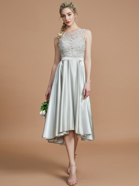 A-Line/Princess Bateau Ruffles Asymmetrical Silk like Satin Bridesmaid Dresses