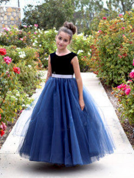 A-Line/Princess Sleeveless Ankle-Length Sash/Ribbon/Belt Tulle Flower Girl Dresses