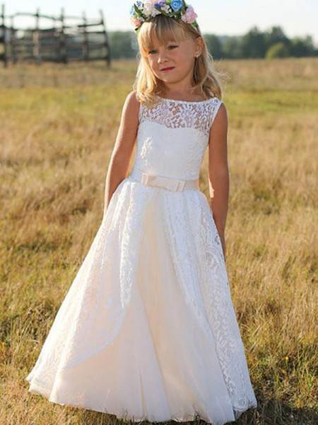A-Line/Princess Sleeveless Floor-Length Scoop Sash/Ribbon/Belt Lace Flower Girl Dresses
