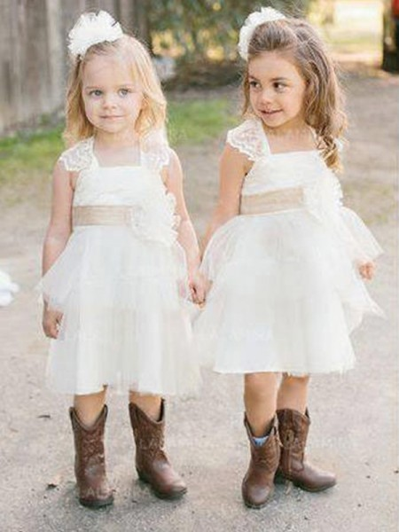 A-Line/Princess Sleeveless Knee-Length Sash/Ribbon/Belt Tulle Flower Girl Dresses