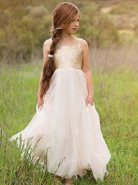 A-Line/Princess Sleeveless Floor-Length Scoop Sequin Tulle Flower Girl Dresses