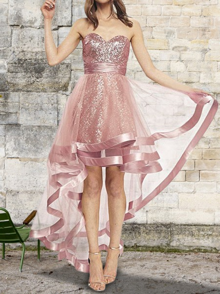 A-Line/Princess Sleeveless Sweetheart Asymmetrical Sequin Organza Dresses