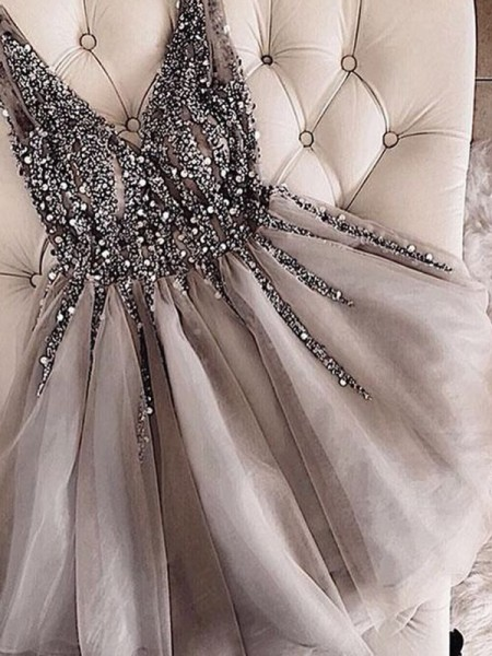 A-Line/Princess Sleeveless V-neck Tulle Sequin Short/Mini Gown