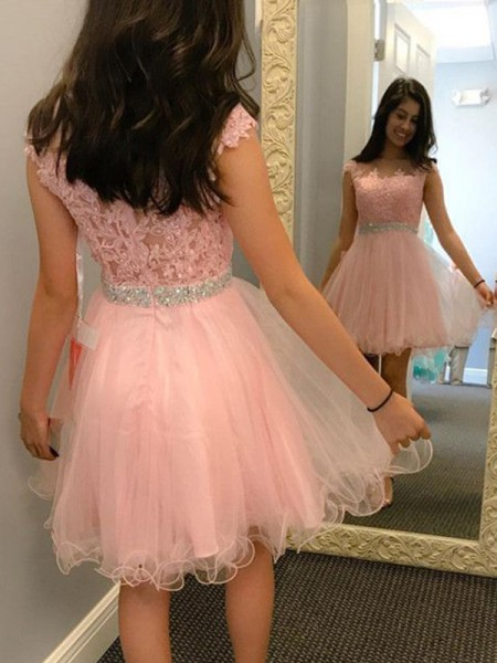 A-Line/Princess Sleeveless Bateau Tulle Applique Short/Mini Gown
