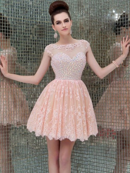 A-Line/Princess Sleeveless Scoop Lace Short/Mini Gown