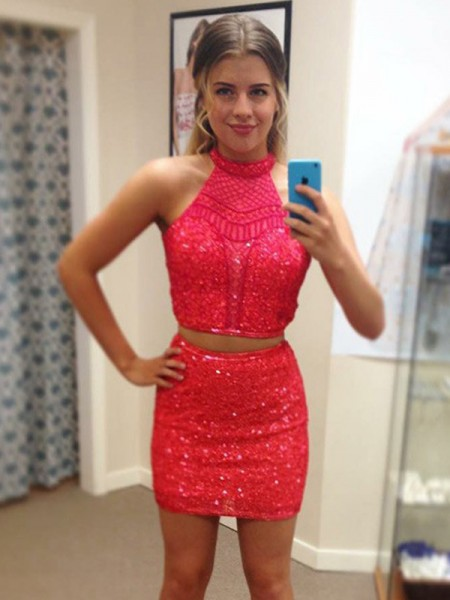 Sheath/Column Sleeveless Halter Sequin Short/Mini Two Piece Gown