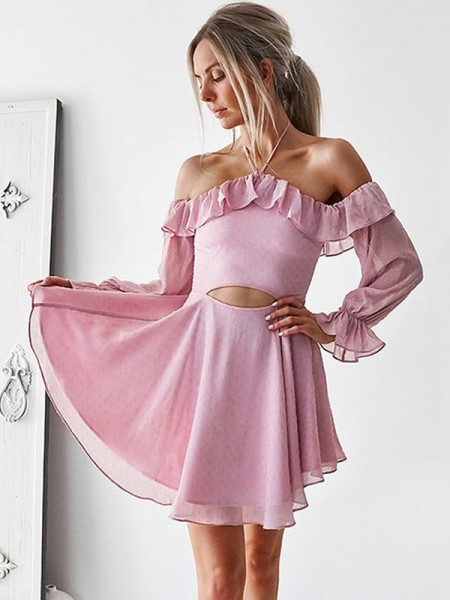 A-Line/Princess Ruffles Chiffon Long Sleeves Short/Mini Gown
