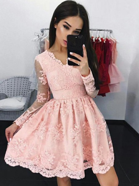 A-Line Lace Long Sleeves With Applique V-neck Short/Mini Gown