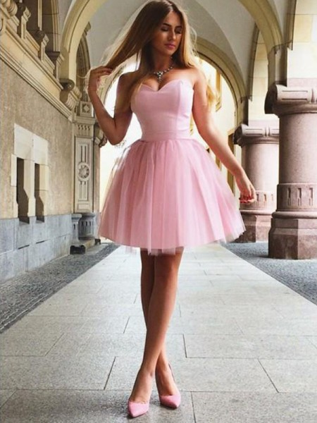A-Line/Princess Ruffles Sleeveless Satin Short/Mini Dress