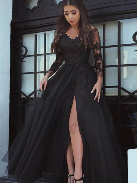 Ball Gown Long Sleeves Floor-Length Off-the-Shoulder Lace Applique Dresses