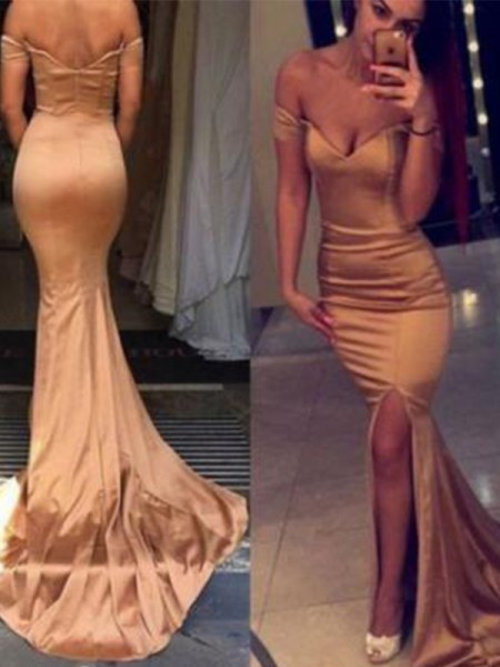 Trumpet/Mermaid Sleeveless Off-the-Shoulder Court Train Silk like Satin Dresses