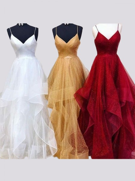 A-Line/Princess Sleeveless Floor-Length Spaghetti Straps Organza Ruffles Dresses
