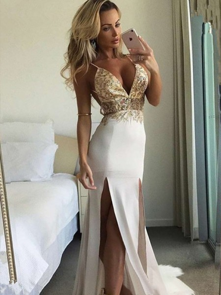 Sheath/Column Sleeveless Floor-Length Spaghetti Straps Sequin Chiffon Dresses